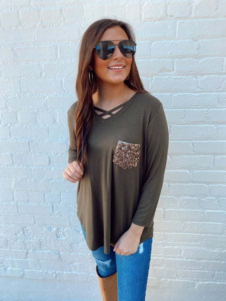 Olive Stealing the Show Sequin Pocket Top