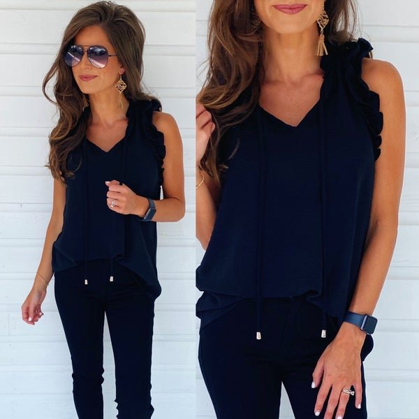 Black Ruffle Neck Top