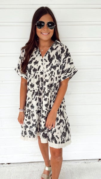 Flirt With Me Printed Dress-Oatmeal