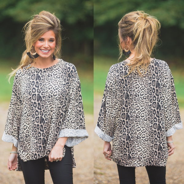 Stone Leopard Top with Cuff Sleeves