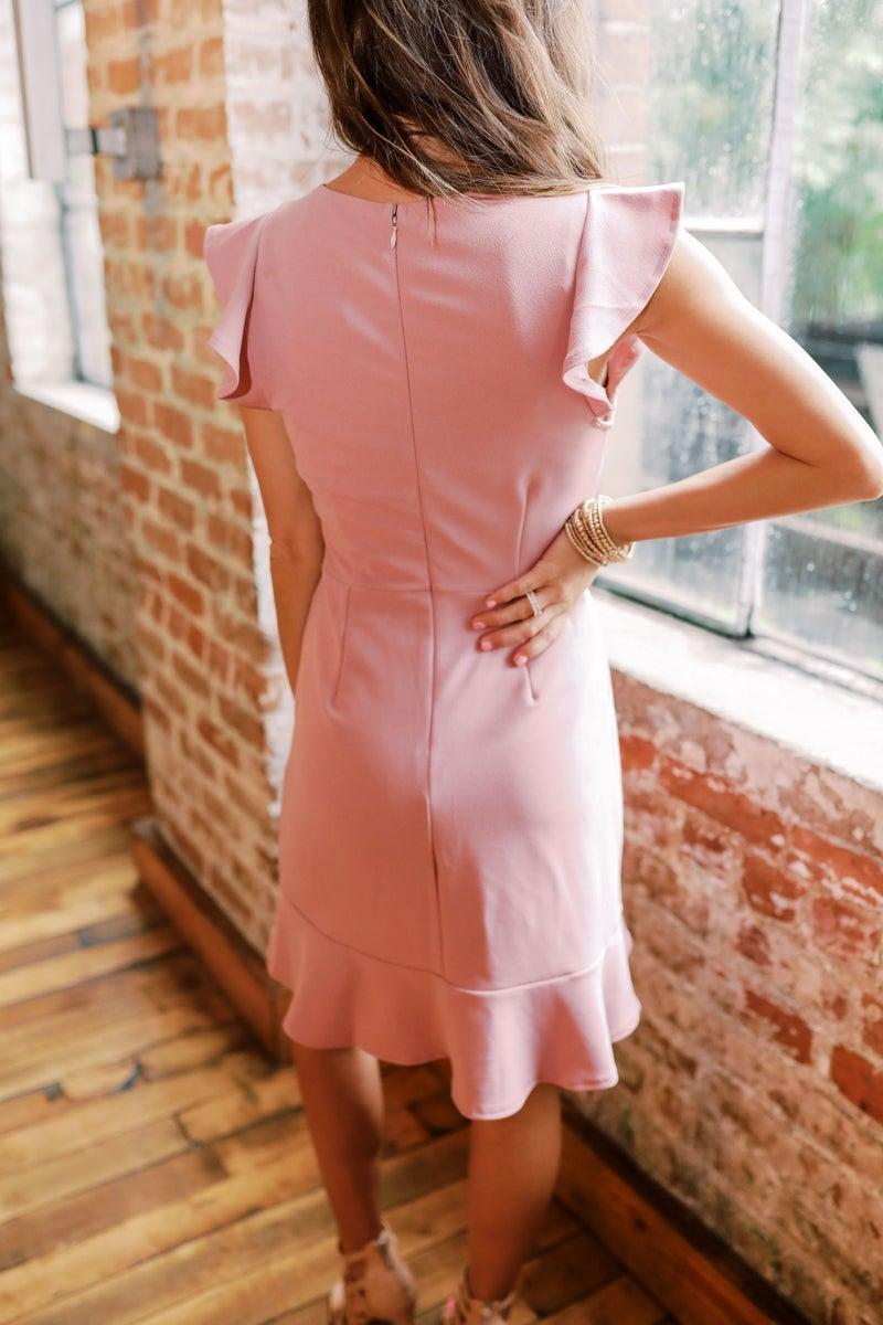 Misty Pink Flutter Sleeve Dress