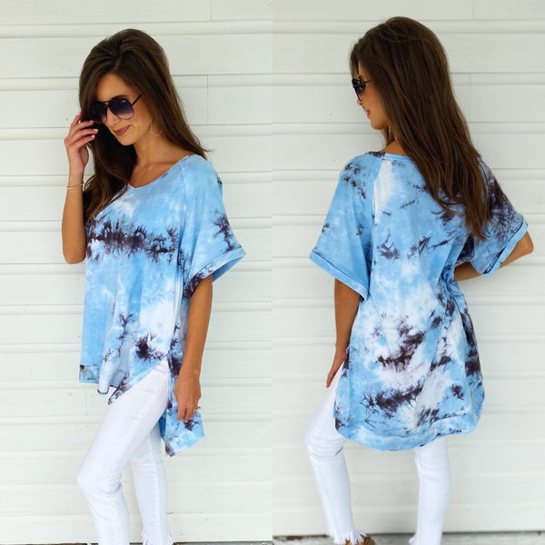 Blue Skies Tie Dye Top