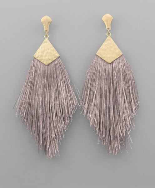 Taupe of the Town Tassel Earrings