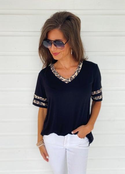 Black & Leopard Jersey Top