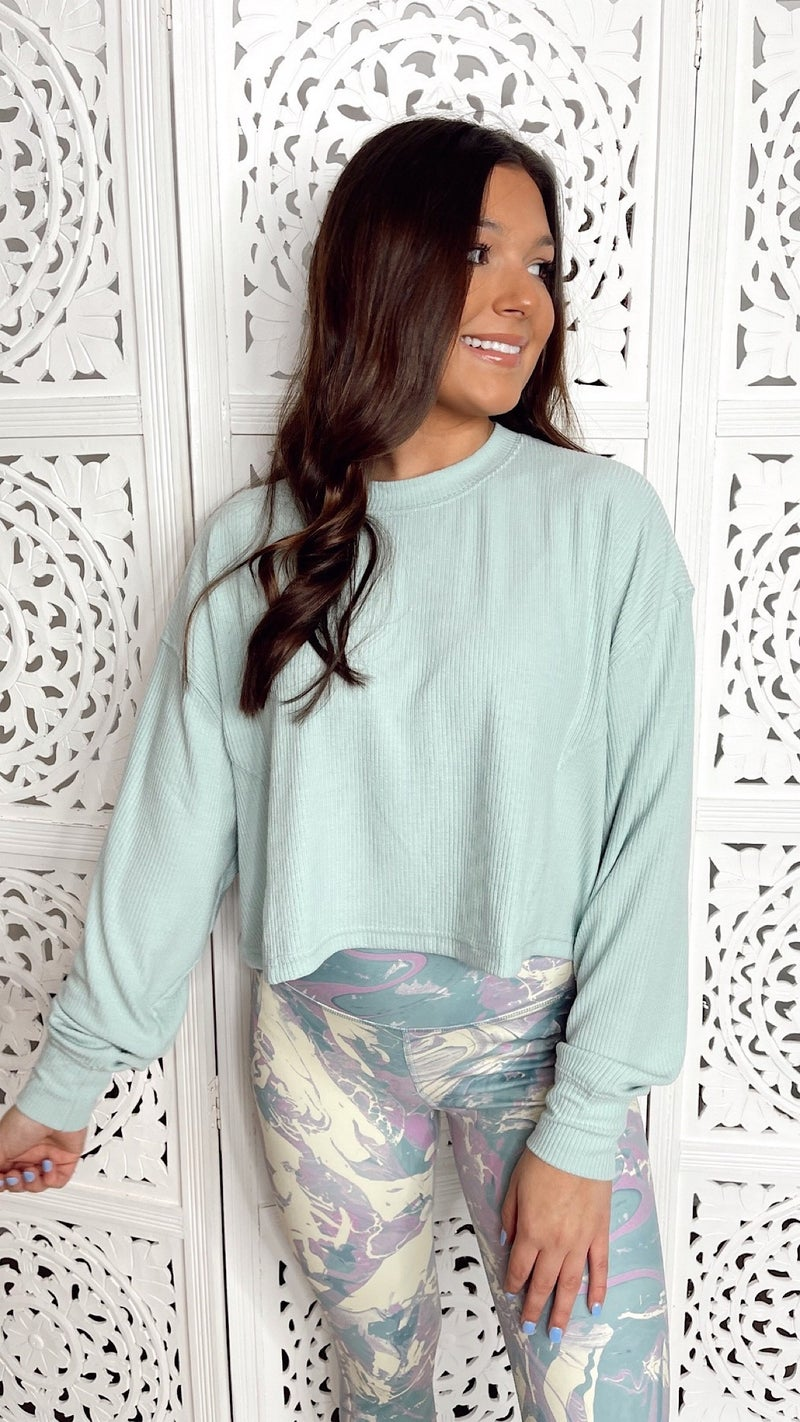 Up Early Mint Cropped Pullover