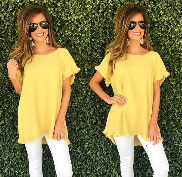 Golden Yellow Frayed  Hem Top