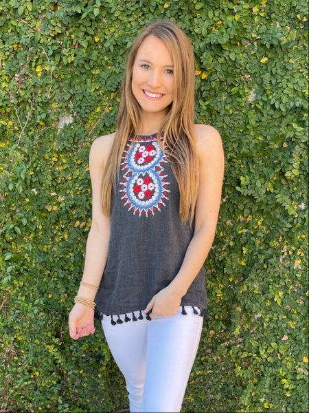 Be Mine Charcoal Embroidered Tank