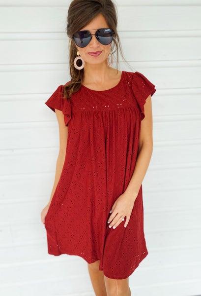 Ellie Eyelet Dress- Rust