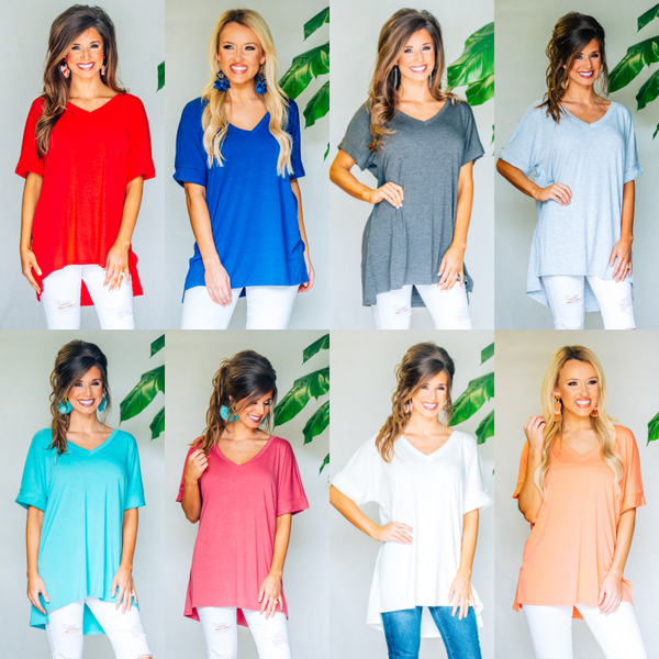 Short Sleeve V-Neck Tops
