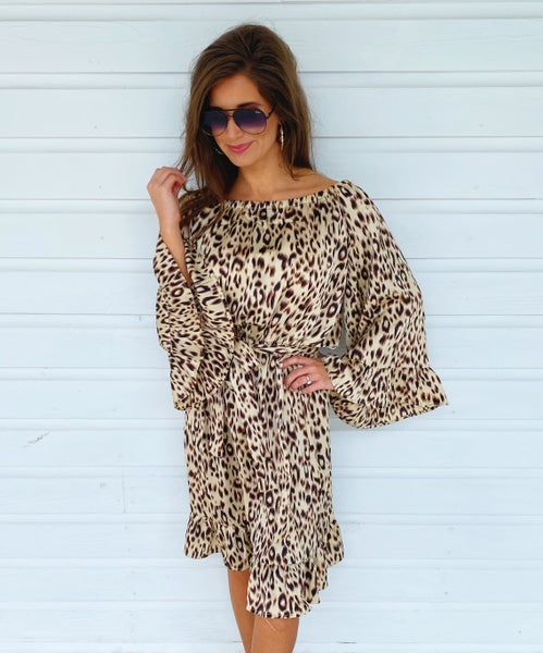 Tell Me About It Taupe Animal Dress