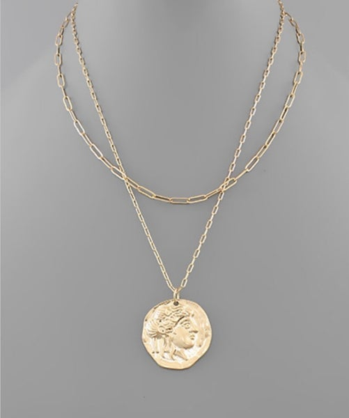Golden Face Coin Necklace