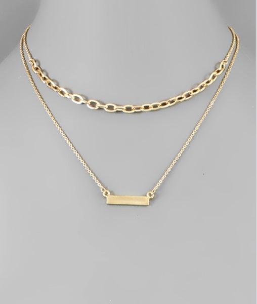 Colby Chain & Bar Layer Choker- Gold