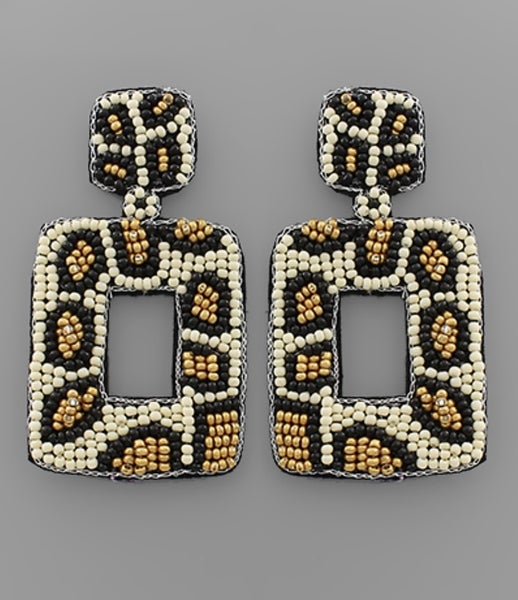 Into Ivory Leopard Beaded Earrings