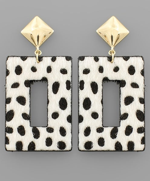 White Cheetah Rectangle Earrings