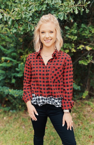 Checker Board Color Block Top