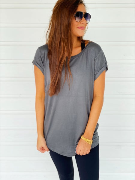Everlee Scoop Neck Top-Grey
