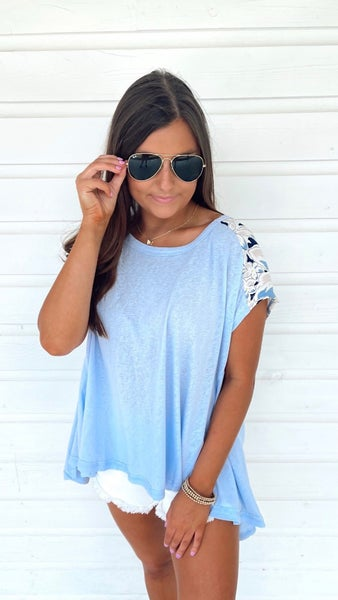 Take It Easy Light Blue & Floral Top