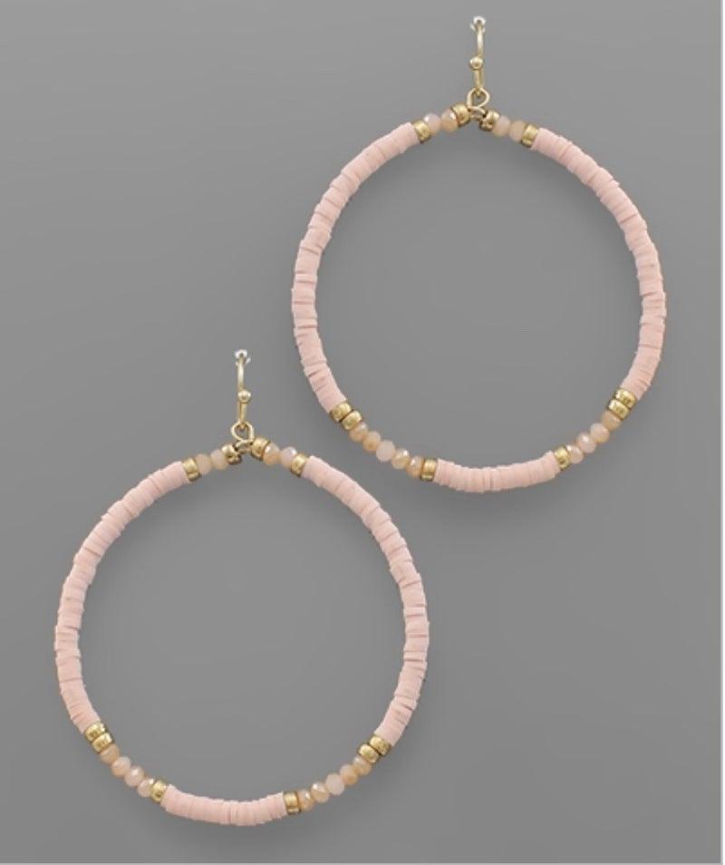 Baby Pink & Gold Hoop Beaded Earrings