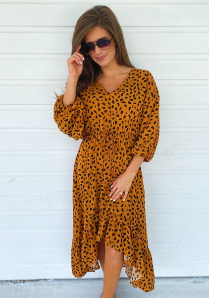 Camel Spotted Maxi Dress