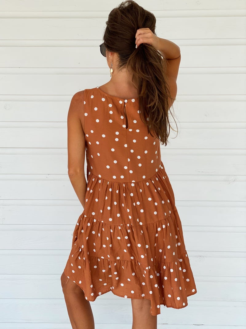 Terra Cotta Polka Dot Dress