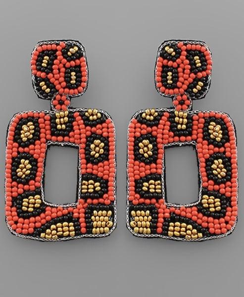 Let It Be Me Leopard Beaded Earrings-orange