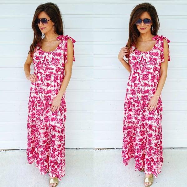 Fuchsia Floral Print Dress