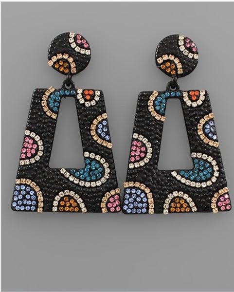 Shimmer & Shine Colorful Earrings- Black
