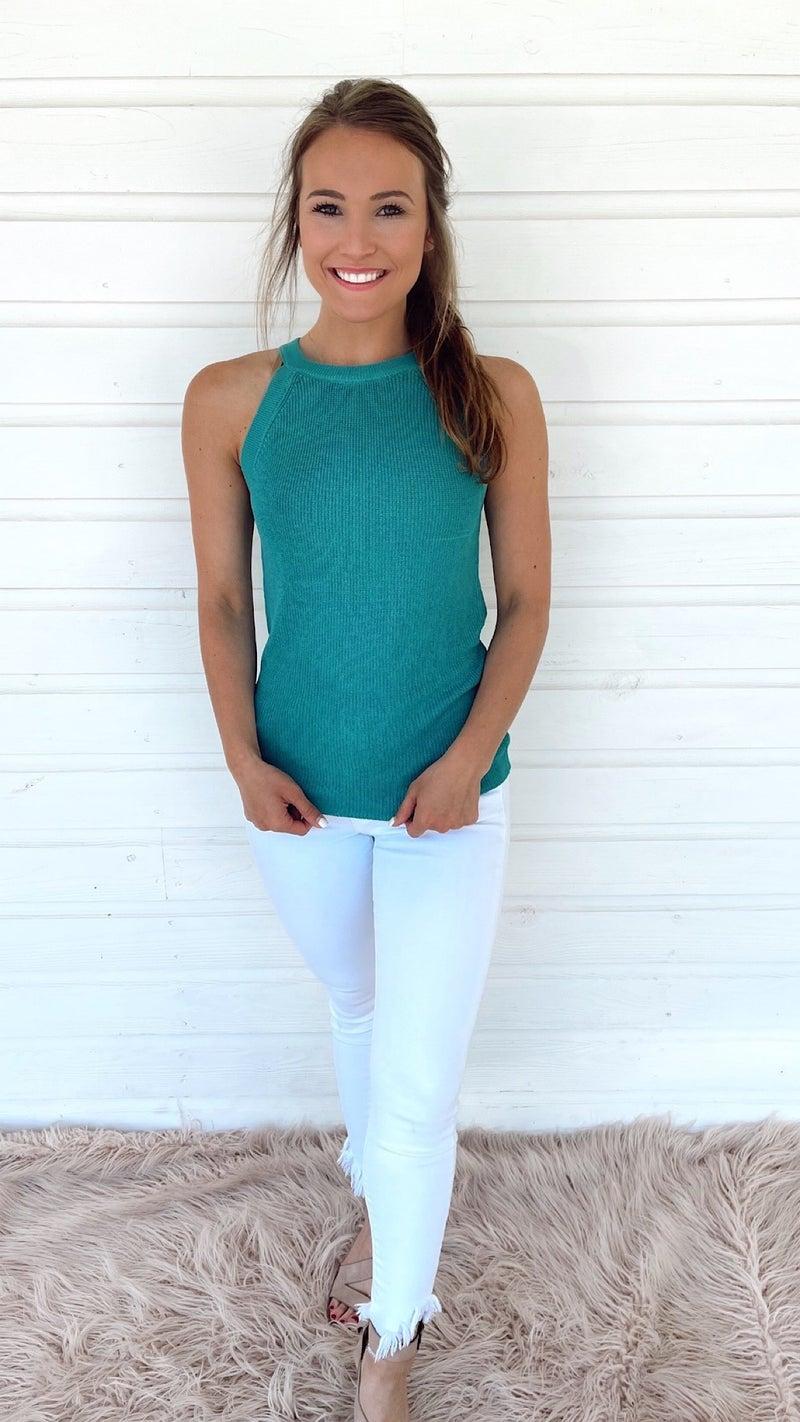 Uptown Girl Sweater Tank- Aqua