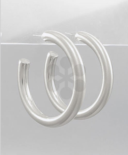 Satin Silver Style Hoop Earrings