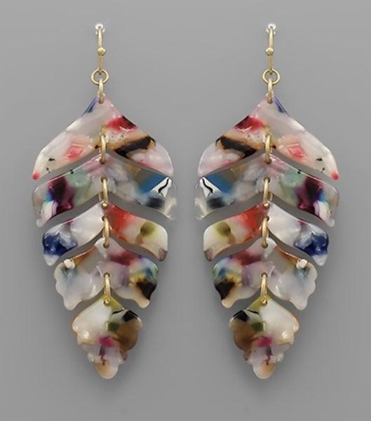 Leaf Acrylic Earrings- Multi