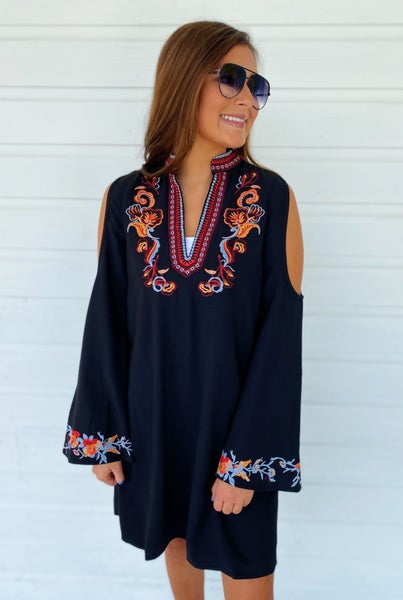 Betsy Black Embroidered Dress