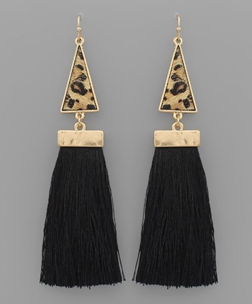 Leah Leopard & Black Tassel Earrings