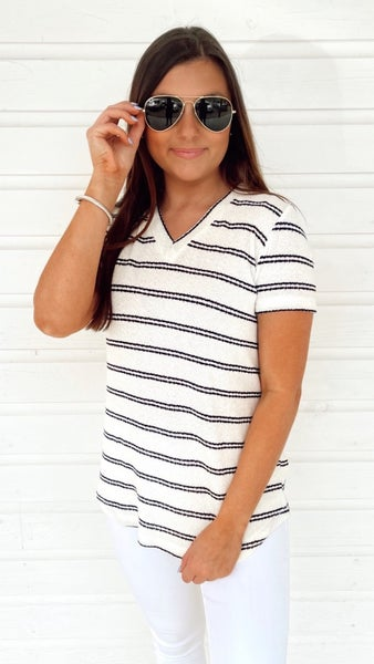 Izzy Ivory Striped Top