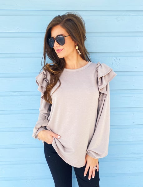 Talk About It Taupe Ruffle Top