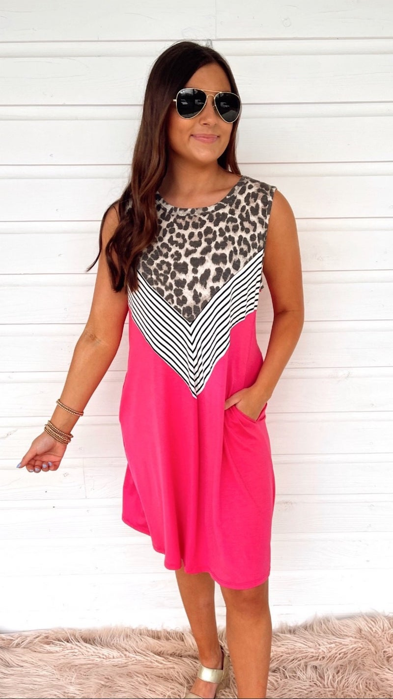 Save Your Tears Leopard & Stripes Dress- Fuchsia
