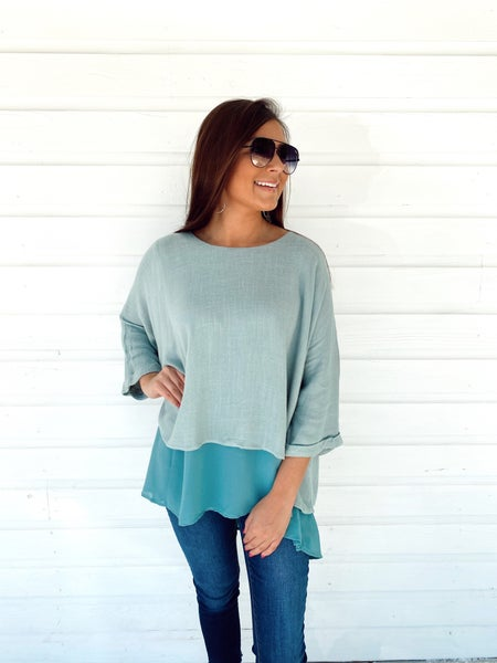 Dusty Mint Layered Top *Final Sale*