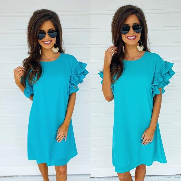 Aqua Pleated Sleeve Dress