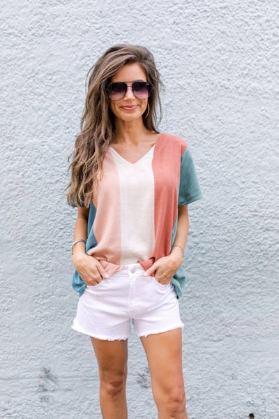 Stay With You Striped Top- Teal