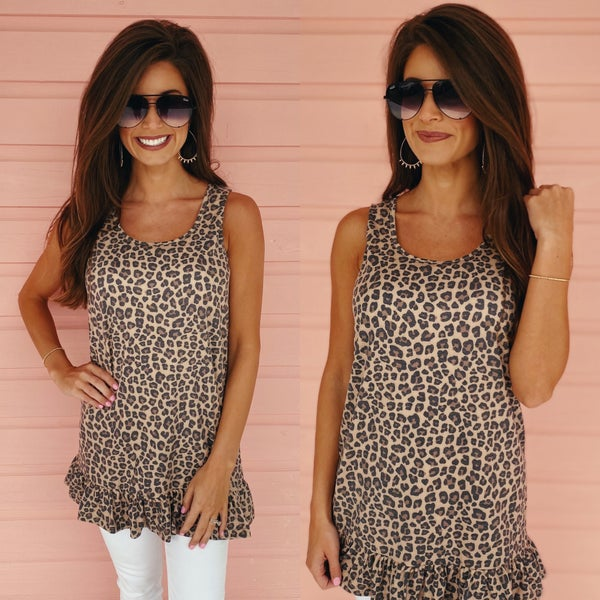 Life Is Good Leopard Ruffle Hem Tank