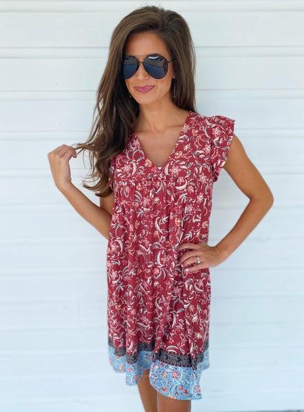 Marsala Printed Dress