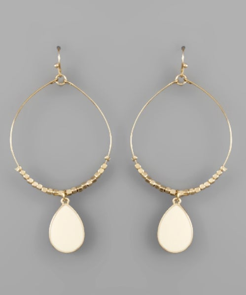 Tessa Teardrop Circle Earrings- Ivory