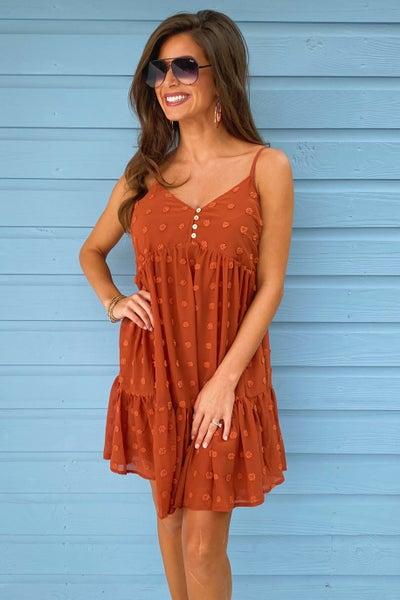 Naomi Textured Dress- Rust *FINAL SALE*