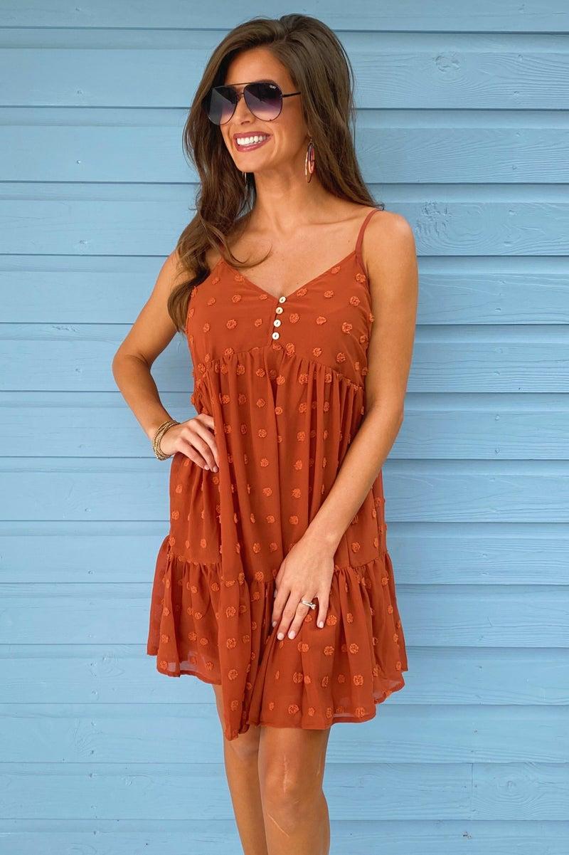 Naomi Textured Dress- Rust