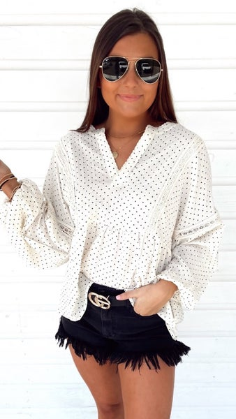 Lacey Spotted Cream Top