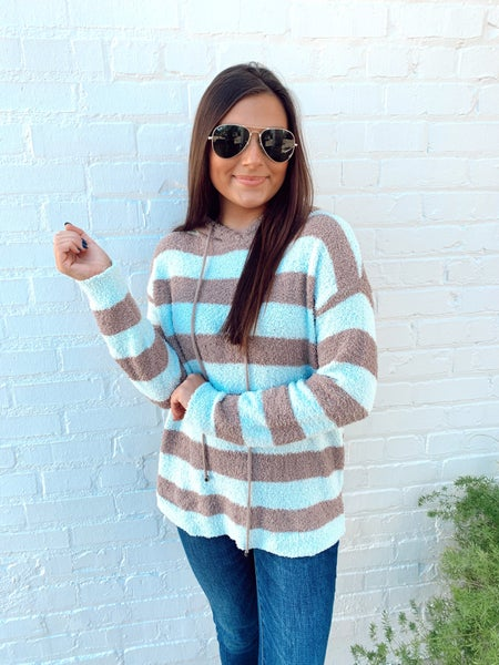 Teddy Striped Hooded Pullover