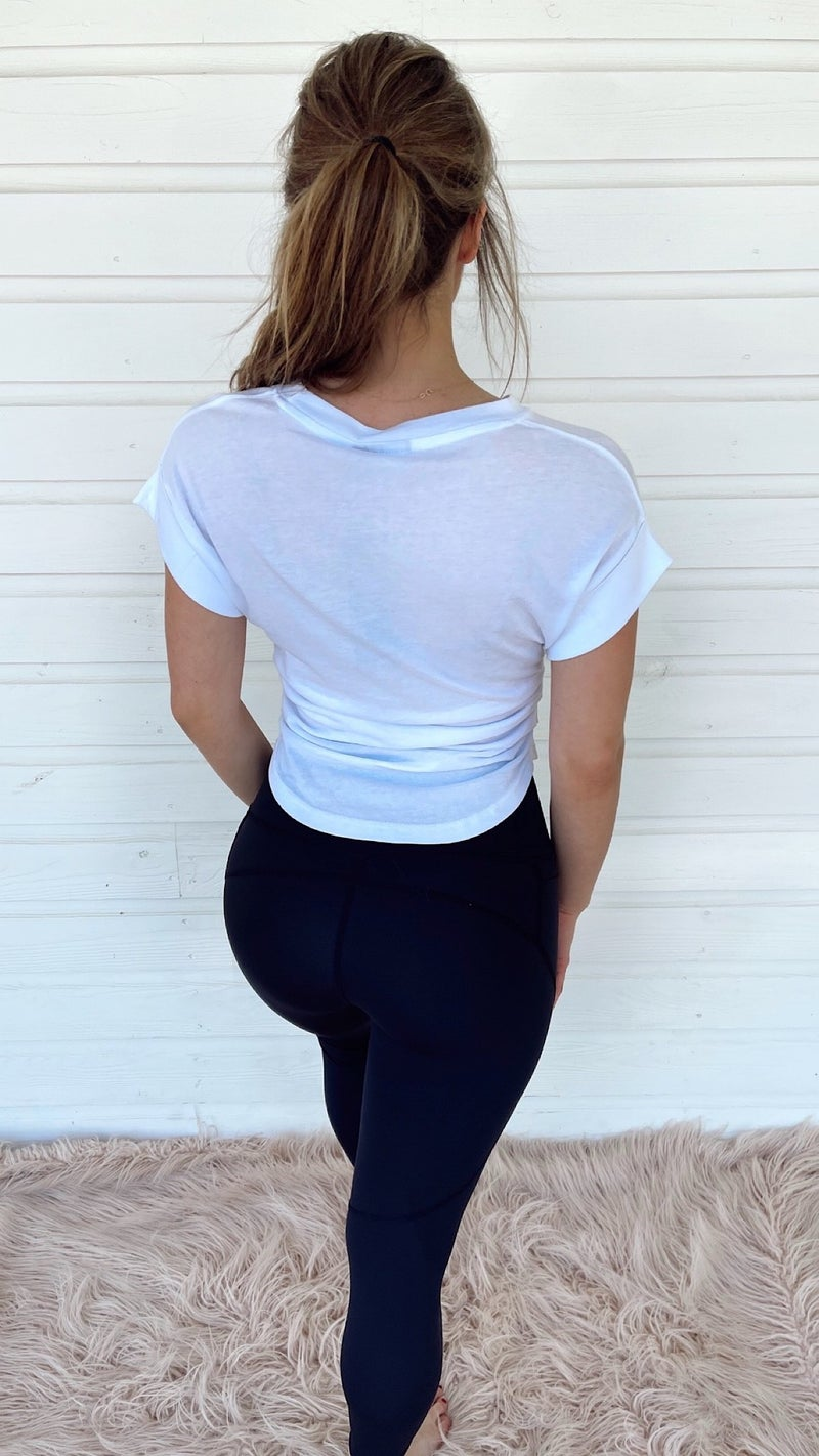 Get Moving Ruched Tee- White