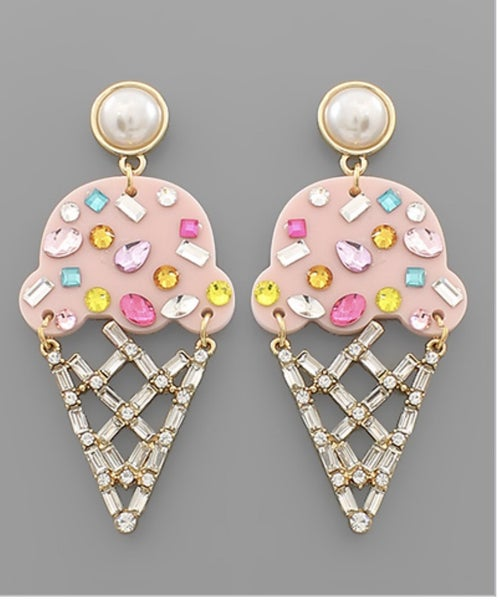 Crystal Color Ice Cream Earrings