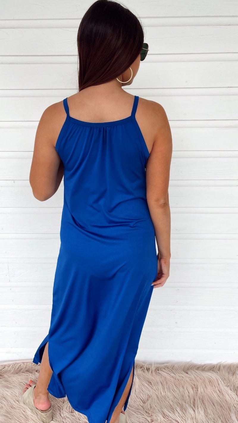 Sweet Escape Royal Blue Midi Dress