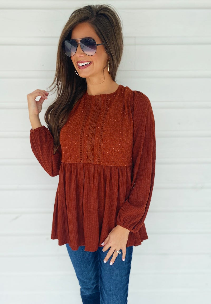 Better in Rust Baby Doll Top