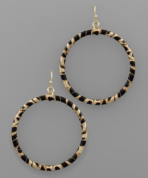 Leopard Leather Wrapped Circle Earrings